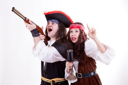 Two scared pirates on white background studioshooting photo
