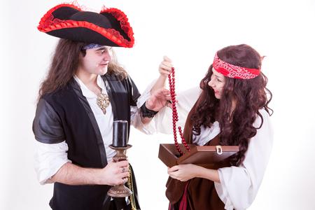 Two pirates found box of tresure studio shooting photo