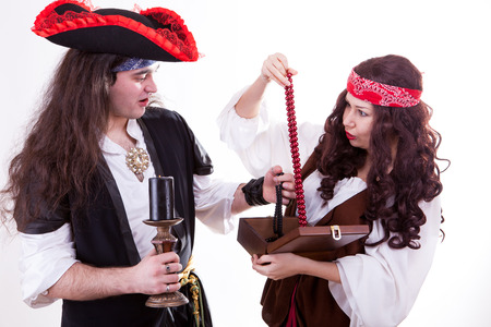 Two pirates found box of tresure studio shooting photo