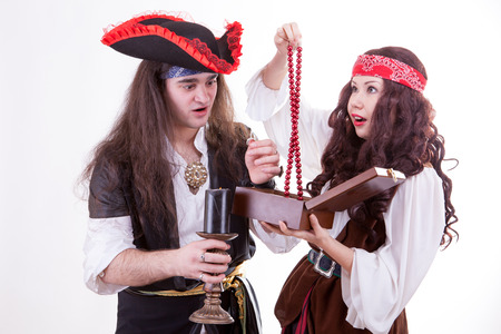 tresure: Two pirates found box of tresure studio shooting Stock Photo