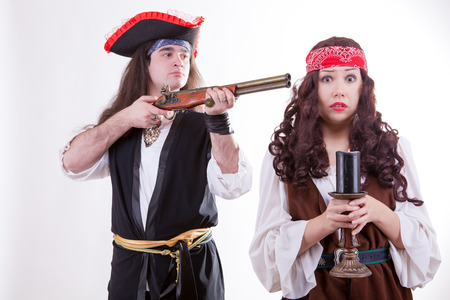 Pirate on white background studio shooting photo