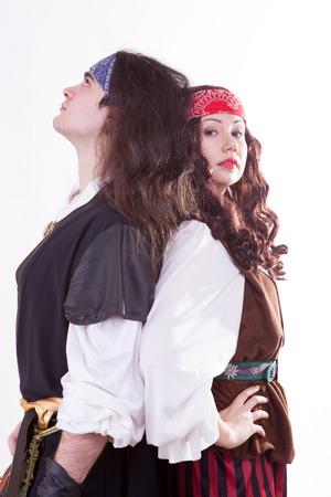 Two pirates on white background studio shooting photo