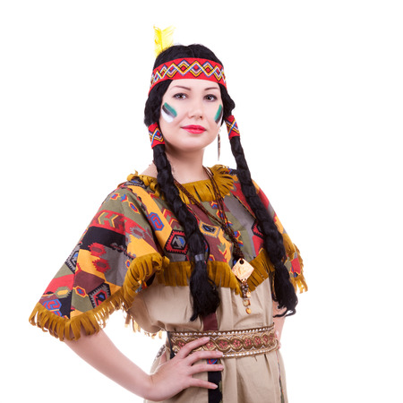 Beautiful native american woman on white background. Isolated. Studio shooting
