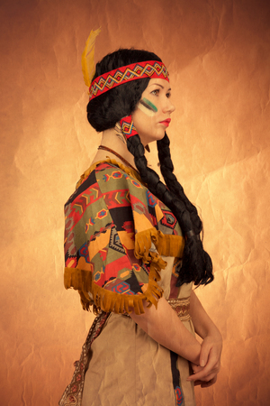 Native american woman toned image. Studio shooting