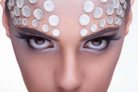 Beauty woman professional fashion rhinestone make up