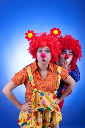 Clown couple in costumes