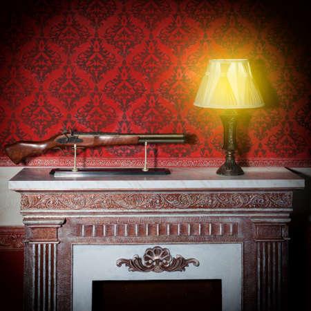Old lamp in red vintage interior. Luxurt. Romantic. Retro.