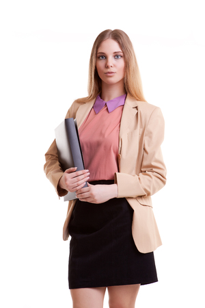 succes: Business person with folder in hand isolated over white background in studio shooting. Succes