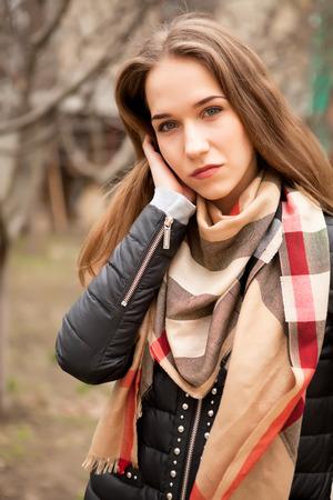 outside shooting: Beautiful sensual young woman in street fashion outside shooting