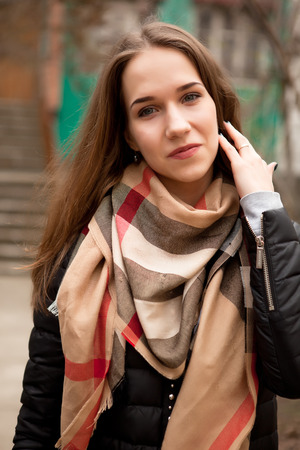 outside shooting: Girl in casual clothes smiling. Outside shooting. Beauty and street fashion Stock Photo