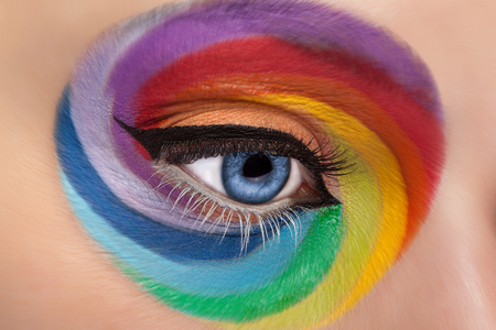 stage make up: Fashion concept make up of spinning rainbow. Close up eye with artistic rainbow make up. Colors and colorful. Joy. Artistic and fashion make up. Cosmetics. On stage make up Stock Photo