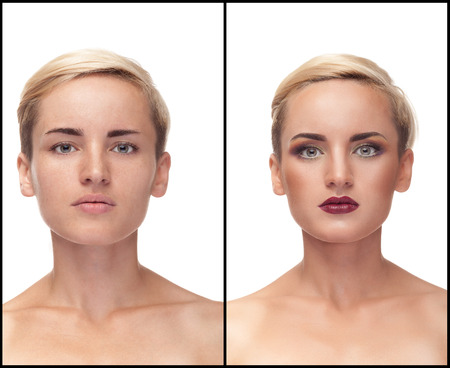 Collage of before and after make up. Same girl. Studio shooting. Over white background. Make up art. Clean skin