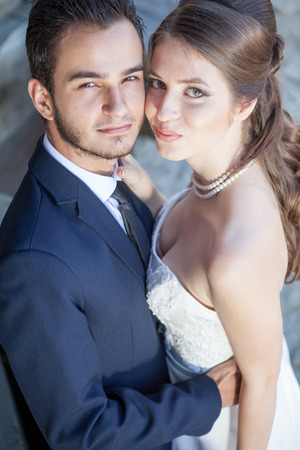 wedding photography: Smiling happy bride and groom getting married. Happy familly. Love and passion. Wedding session. Wedding photography