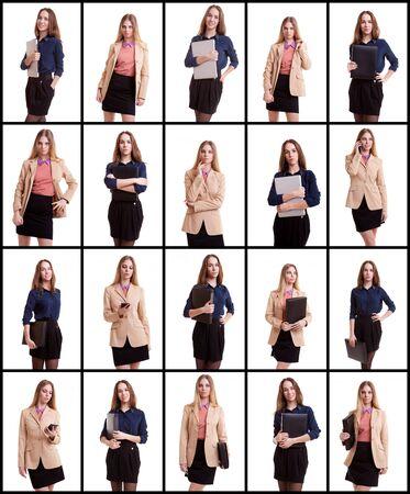 collage caras: Collage de dos mujeres de negocios en el fondo blanco. Mujer con ordenador port�til o una carpeta en el collage