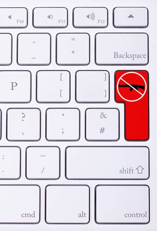 victim war: Red button on keyboard with stop guns and war sign. Criminal attack