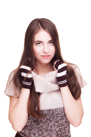 fingerless gloves: Woman on white background in fingerless gloves. Studio photos. Winter theme. Cozy clothes and worm feelings