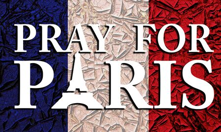 atack: Pray for Paris poster with France flag. International suport for victim of terrorist atack in France
