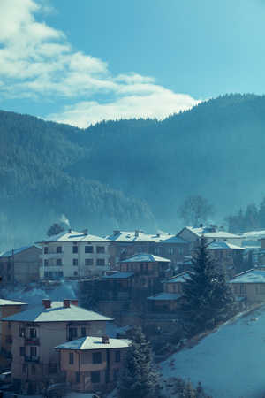 wheater: Mountain village lanscape on beautiful wheater