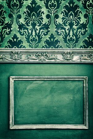 antique wallpaper: Vintage type decoration in old camera type toning. Antique and retro. Rich vintage interior. House interior Stock Photo