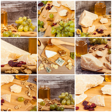 Collage Of Healthy Food From Grapes Honey And Parmesan Luxury Lifestyle Stock Photo
