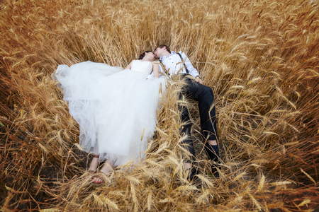 wedding photography: Just married bride and groom lying in a wheat field. Love story and wedding photography Stock Photo