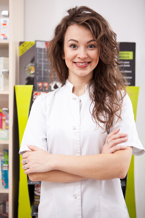 Pharmacist at her work place. Healthcare business. Medical business