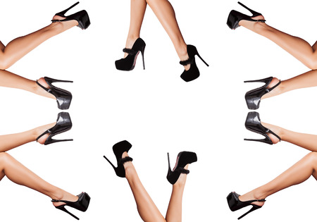 Collage of legs with shoes over white background in studio photo