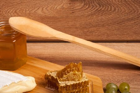 White cheese, honey and crackers on wooden background in studio photo