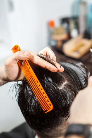 comb: Professional haircut in a salon. Professional service