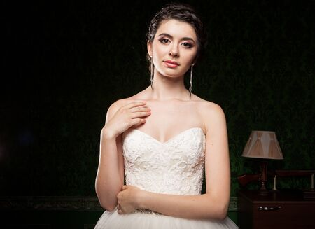 Elegant bride in vintage interior. Happiness and marriage