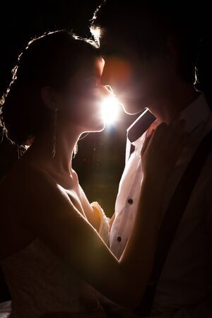 Inlove bride and groom together backlit in vintage interior. Happiness and marriage