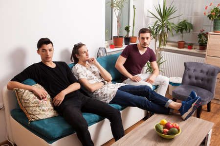 confortable: Friends hanging out together in nice confortable room. Male friendship Stock Photo