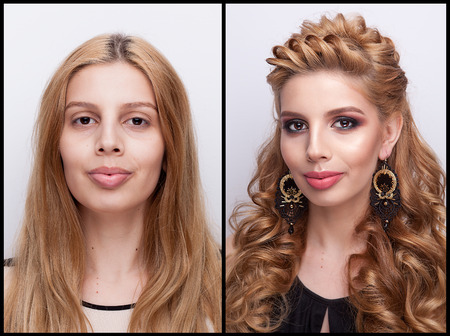 Woman Before and after makeup and hairstyle in studio photo. Transformation and makeover
