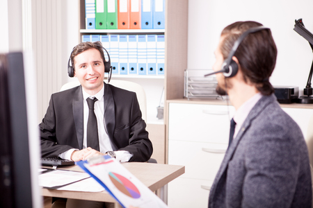customer service representative: Customer service support working in office. Professional online and telephone assistant support