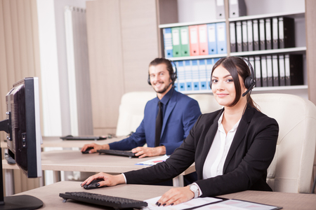 Customer support line woman worker. Help desk and support