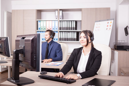 hotline: Customer support line woman worker. Help desk and support