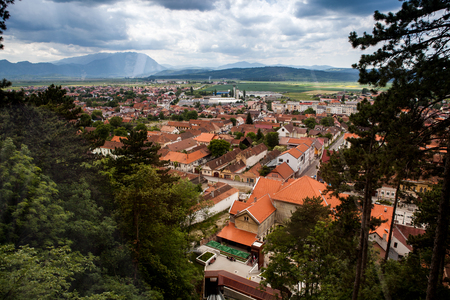 Panorama over a mountain city in the sping. Traveling and architecture