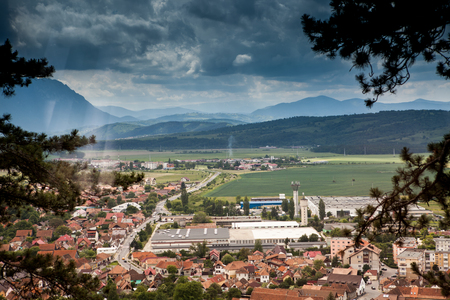 Beautiful Panorama over a mountain city in the sping. Traveling and architecture Stock Photo