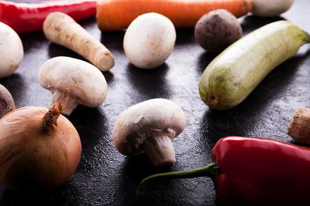 Close up on organic grew healthy fresh vegetables