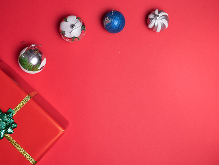 Beautiful Christmas red gif boxe on red background. Elegance style