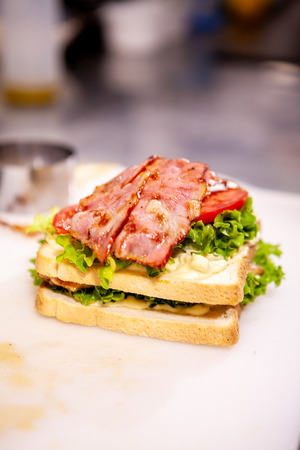 Chef making sandwich with fresh ingredient.Delicious nutrition 写真素材