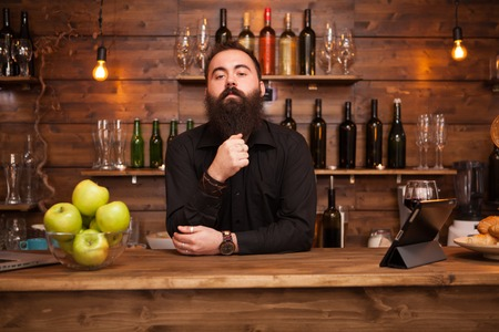 Bearded handsome young bartender behind the bar counter. Stockfoto