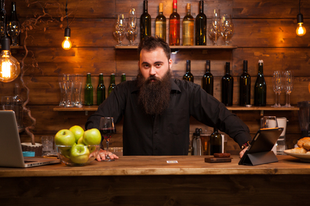 Attractive bartender playing with his long beard behind the counter. Stylish man. Banque d'images