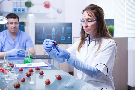 Female scientist and her assistant working on a cure for strawberries parasites. Scientist wearing safty gear.