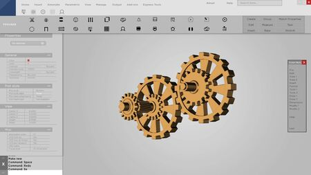 Software interface or mock up of 3D gears for CAD. Prototype interface 스톡 콘텐츠