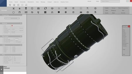Prototype interface or HUD of 3D CAD industrial design of a turbine