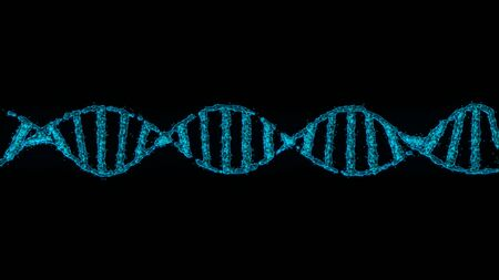 Simple 3D animation of DNA string on black background.