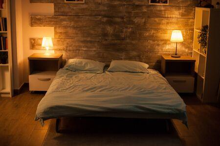 Cozy bedroom with no body in it