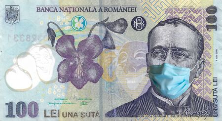 COVID-19, sars-cov-2 coronavirus pandemic going to a financial crush in Europe, one hundred romanian lei bill with Caragiale wearing a protective mask