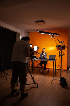 Videographer recording vlog for influencer. Content creator new media star on social media recording for internet web online subscribers audience new podcast episode